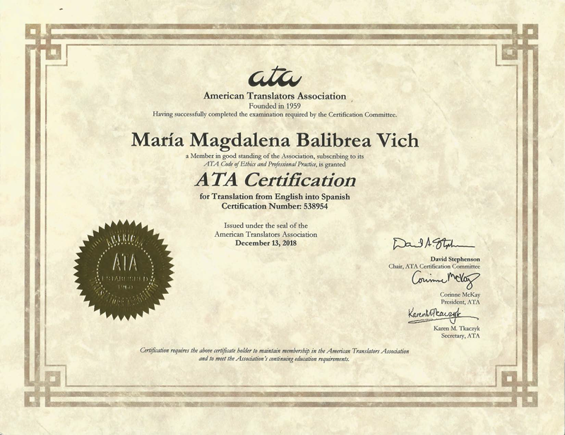 American Translators Association English to Spanish certification